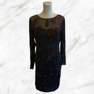 Le Château | Deep Red Velvet Detail Black Dress